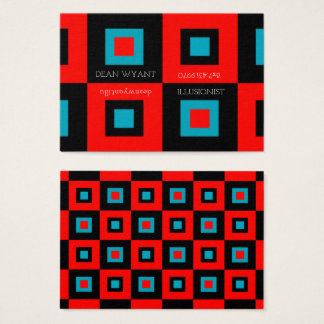 Crimson Blue Vertigo Checkerboard Illusion Business Card