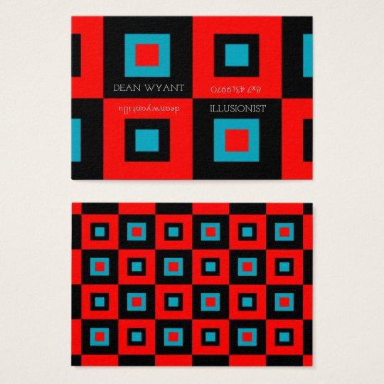 Crimson Blue Vertigo Chequerboard Illusion Business Card