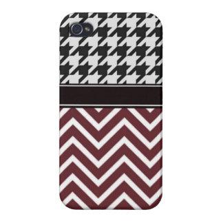 Crimson Chevron and Houndstooth iPhone 4 Case