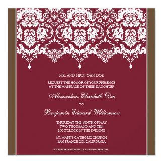 Crimson Darling Damask Square Wedding Invitation