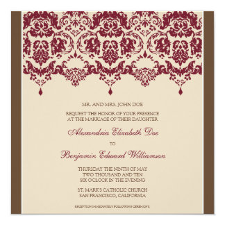 Crimson Darling Damask Square Wedding Invitation