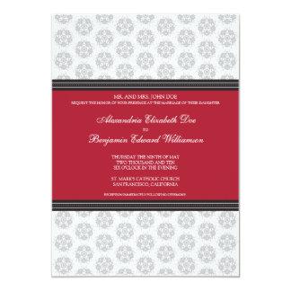 Crimson Decorative Stamp Formal Wedding Invitation