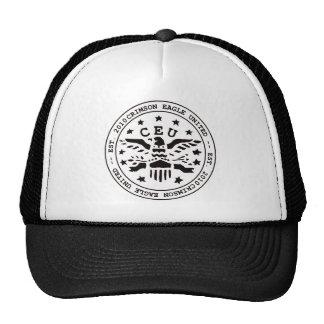 Crimson Eagle Seal Black Trucker Hats
