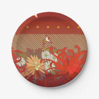 Crimson Flowers Paper Plate Small