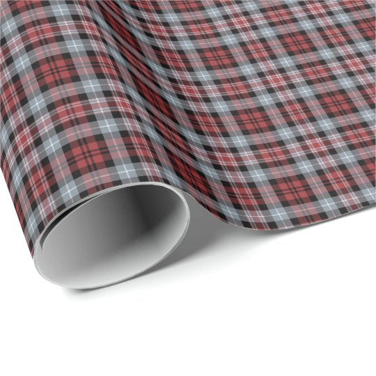 Crimson, Grey and Black Sporty Plaid Wrapping Paper