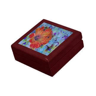 Crimson Hibiscus Floral Wonder Small Square Gift Box