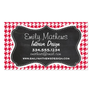 Crimson Houndstooth Retro Chalkboard Business Card Templates