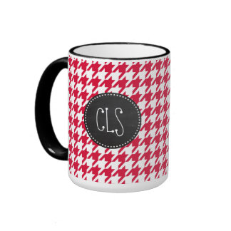 Crimson Houndstooth; Retro Chalkboard Ringer Mug