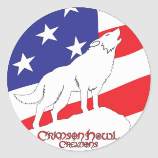 Crimson Howl Flag Classic Round Sticker