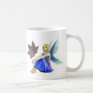 Crimson King Maple Tree Fairy with Leaf Coffee Mug