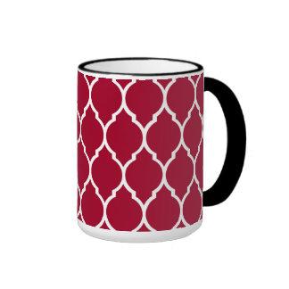 Crimson Modern Quatrefoil Pattern Ringer Mug