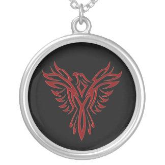Crimson Phoenix Rising Silver Plated Necklace