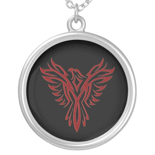 Crimson Phoenix Rising Silver Plated Necklace