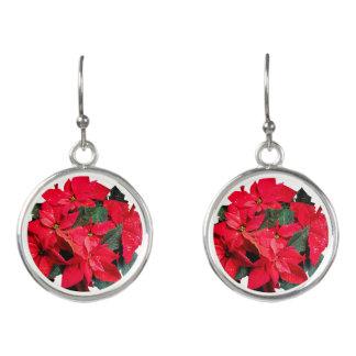 Crimson Poinsettia Christmas Earrings