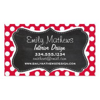 Crimson Polka Dots; Chalkboard look Pack Of Standard Business Cards