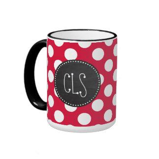 Crimson Polka Dots; Chalkboard look Ringer Mug