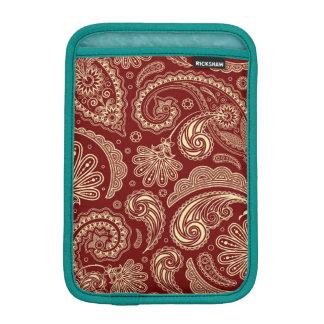 Crimson Red And Beige Creme Vintage Paisley iPad Mini Sleeve