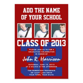 Crimson Red and Blue Athletes Photo Gradutaion Card