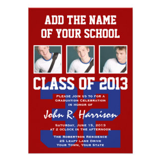 Crimson Red and Blue Athletes Photo Gradutaion Personalized Invite