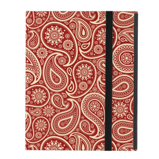 Crimson Red And Cream Vintage Floral Paisley iPad