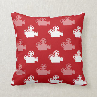 Crimson Red and White Movie Camera Cushion