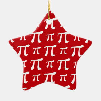 Crimson Red and White Pi Symbol Christmas Ornament