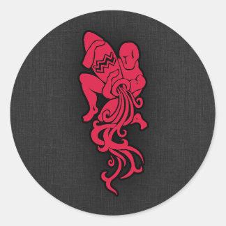 Crimson Red Aquarius Round Sticker