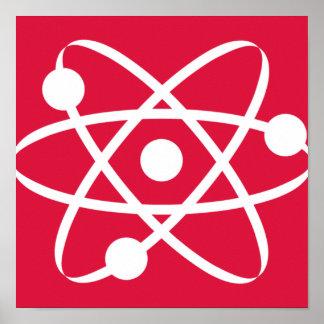 Crimson Red Atom Posters