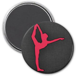 Crimson Red Ballet Dancer 7.5 Cm Round Magnet