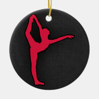 Crimson Red Ballet Dancer Double-Sided Ceramic Round Christmas Ornament