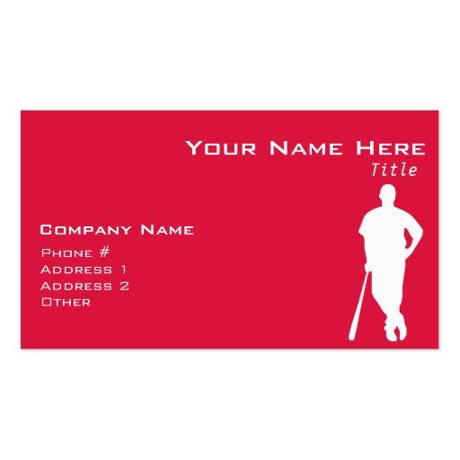 Crimson Red Baseball Business Cards