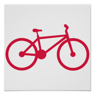 Crimson Red Bicycle Posters