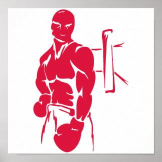 Crimson Red Boxing Print