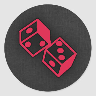 Crimson Red Casino Dice Classic Round Sticker