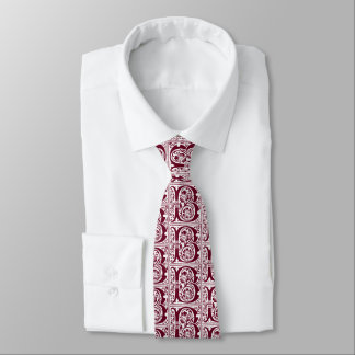 Crimson Red Celtic Manuscript Letter B Old English Tie