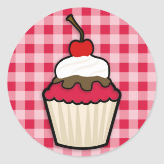 Crimson Red Cupcake Round Sticker