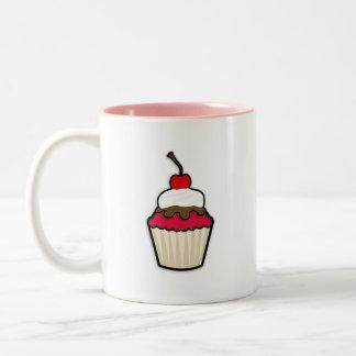 Crimson Red Cupcake Two-Tone Coffee Mug