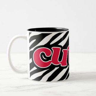 Crimson Red Cute Zebra Two-Tone Coffee Mug