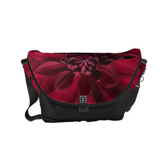 Crimson Red Dahlia Flower Pattern Modern Womans Courier Bags