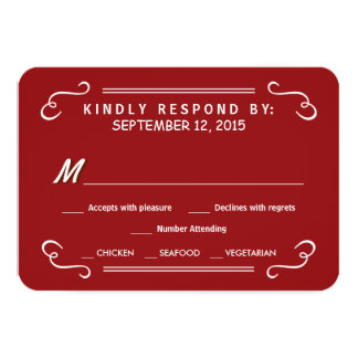 Crimson Red Eat Drink & RSVP Rustic Wedding Reply Card