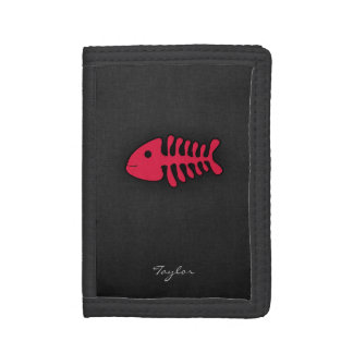 Crimson Red Fish Bones Trifold Wallet