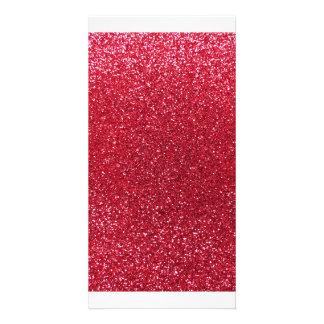 Crimson red glitter picture card