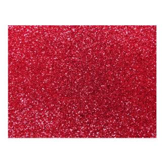 Crimson red glitter postcard
