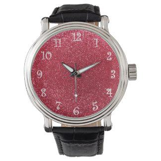 Crimson red glitter watch