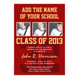 Crimson Red Gold Athletic Student Graduation 13 Cm X 18 Cm Invitation Card