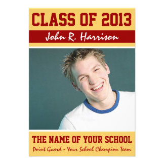 Crimson Red Gold Athletic Student Graduation Card