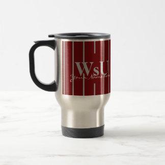 Crimson Red & Gray Stripes Travel Coffee Mug
