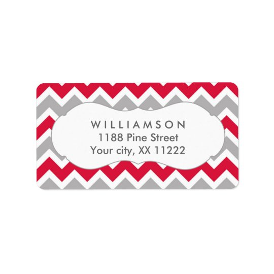 crimson red grey chevron shower favour tag