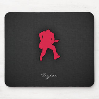 Crimson Red Guitar Player Mouse Pad