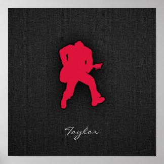 Crimson Red Guitar Player Print